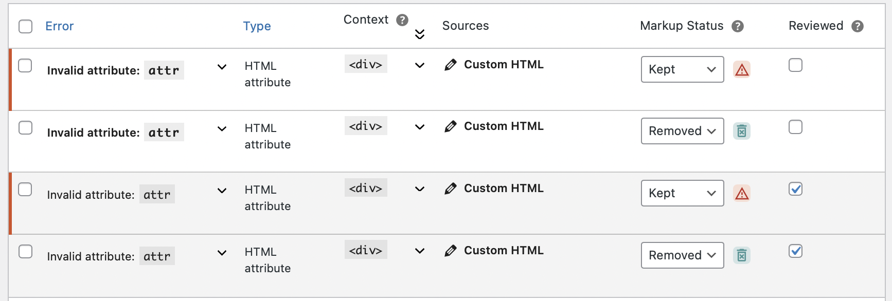 Updated design for validation errors on validated URL screen
