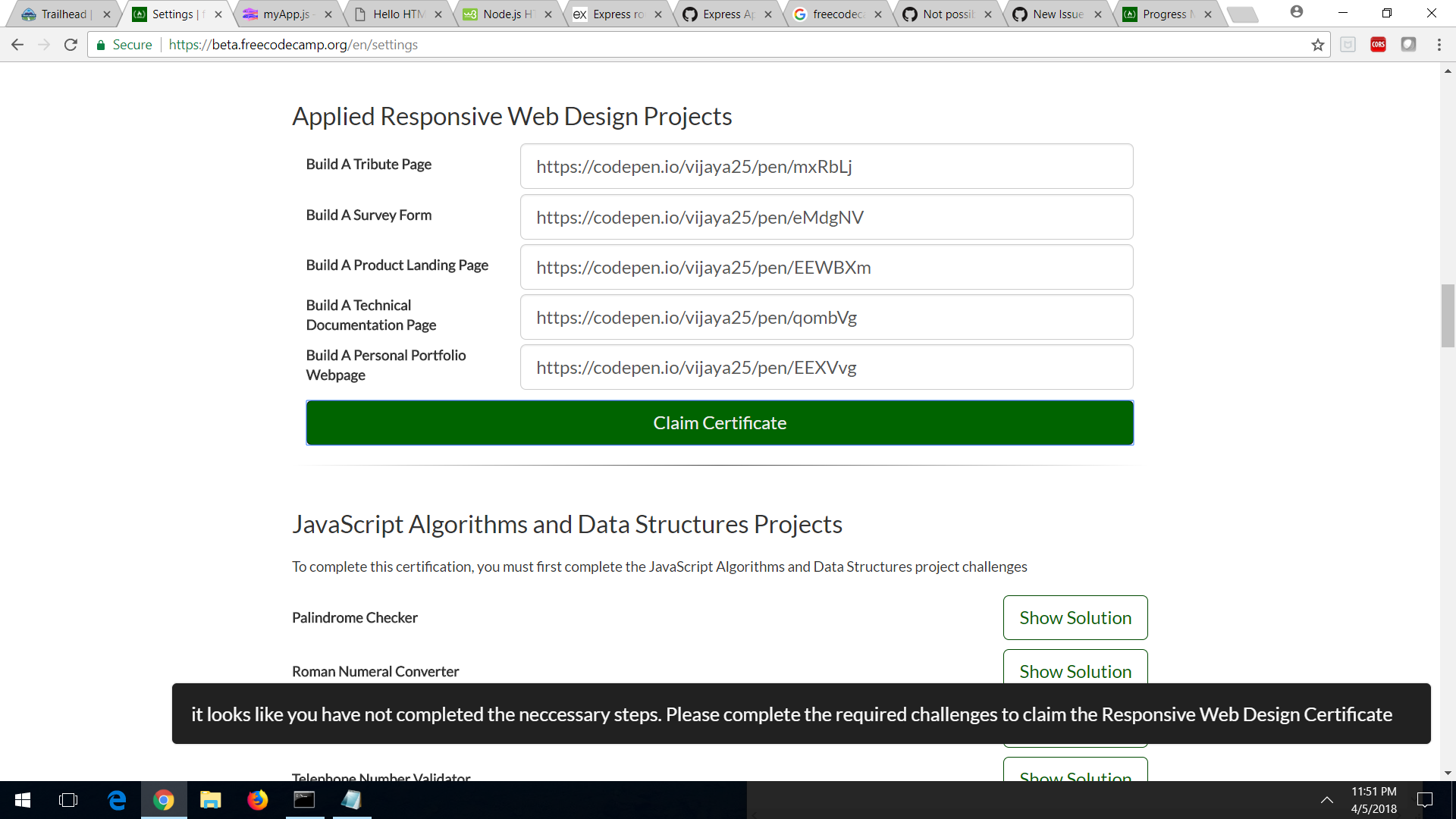 Unable To Claim Responsive Web Design Certificate Issue 17031 Freecodecamp Freecodecamp Github