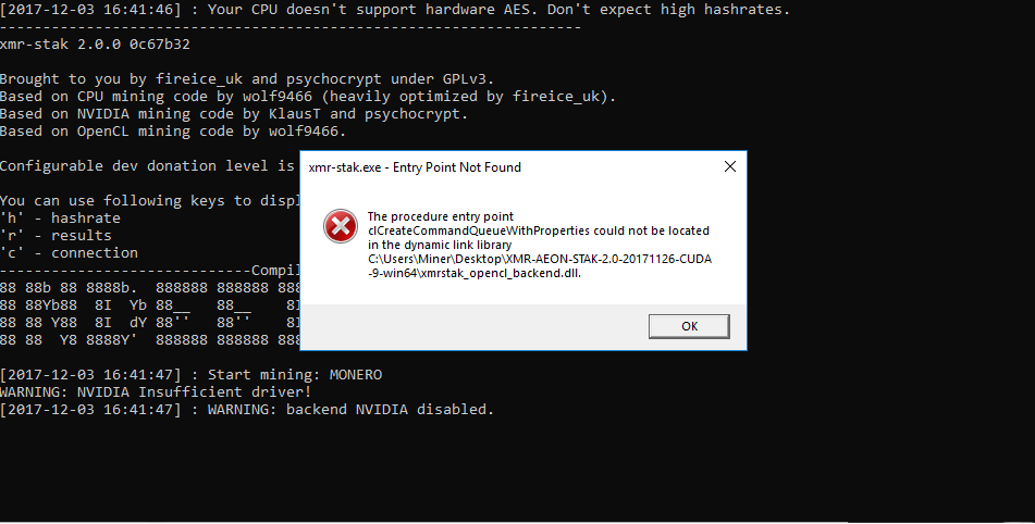 CL_DEVICE_NOT_FOUND when calling clGetDeviceIDs for of devices ERROR