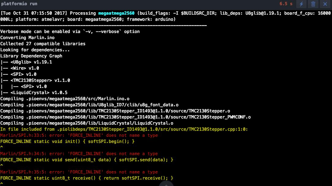 PlatformIO Compile Error TMC2130 SPI h FORCE_INLINE does not