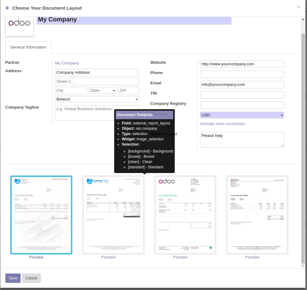 Print templates header and footer in Odoo 11CE · Issue