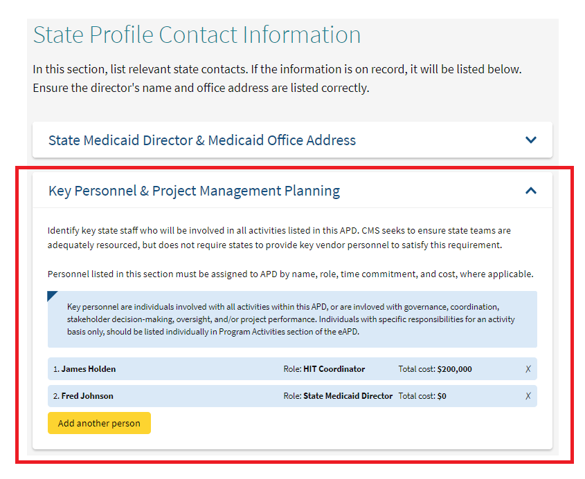 Move Entire Key Personnel And Project Management Planning Section To