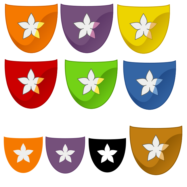 orange, purple, yellow, red green, blue and brown fancy icons, plus some smaller icons: plain purple, mini orange and black high contrast