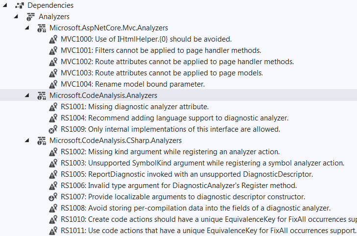 Confusing analyzer warnings in solution explorer with no way