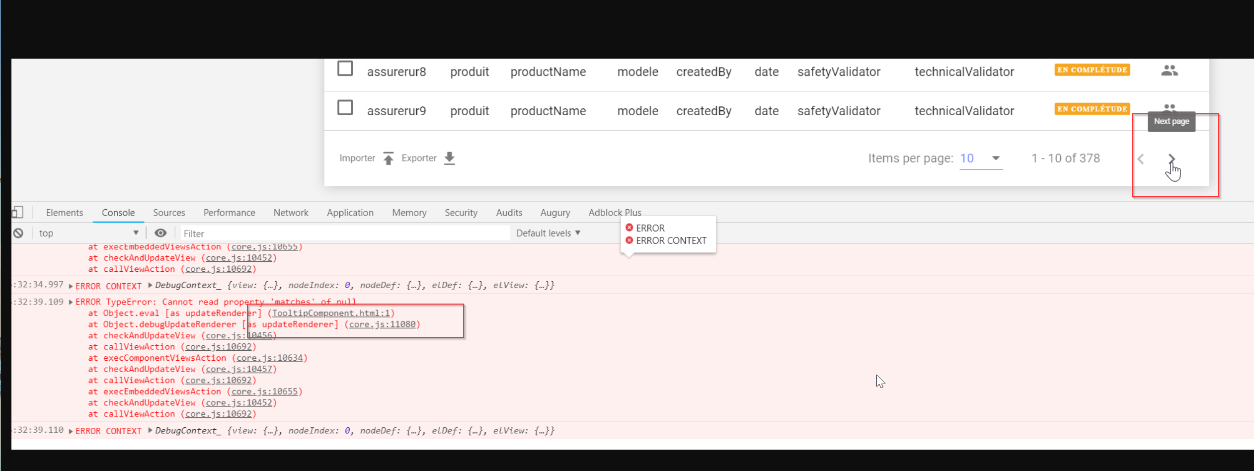 After upgrading to Angular7 mat-paginator tooltip throws