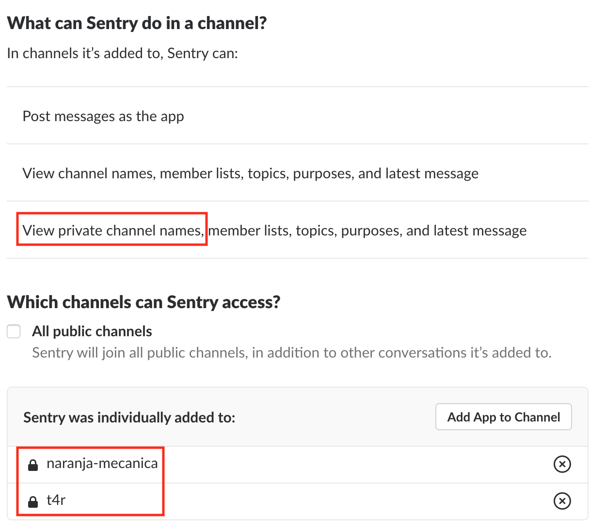 Slack Integration: Inability to connect private channel
