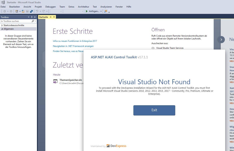 ajax toolkit for visual studio 2017