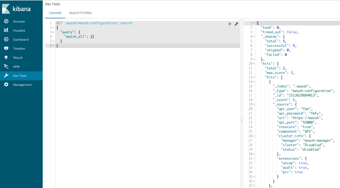 Wazuh API password stored unencrypted in Elasticsearch