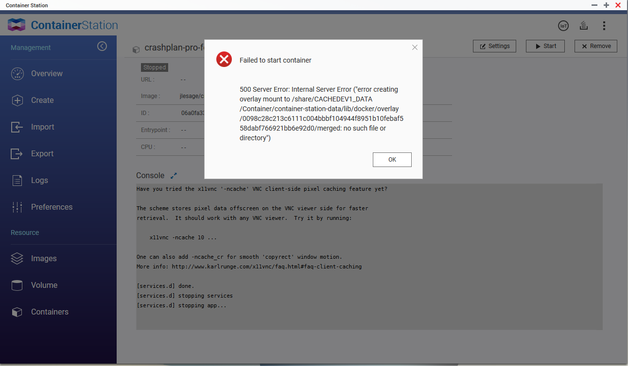 Error After Updating Container Station · Issue #114 · jlesage/docker