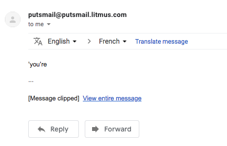 A screenshot on Gmail showing an email getting clip because of a special character