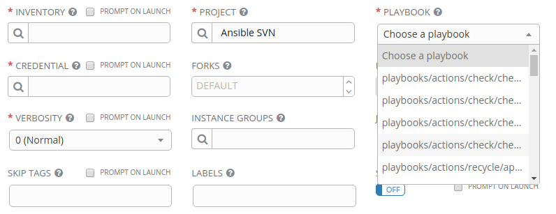 Change playbook selection from select to lookup in both job template ...