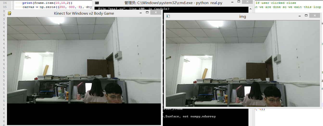 OpenCV+PyKinect show color frame in the same time · Issue