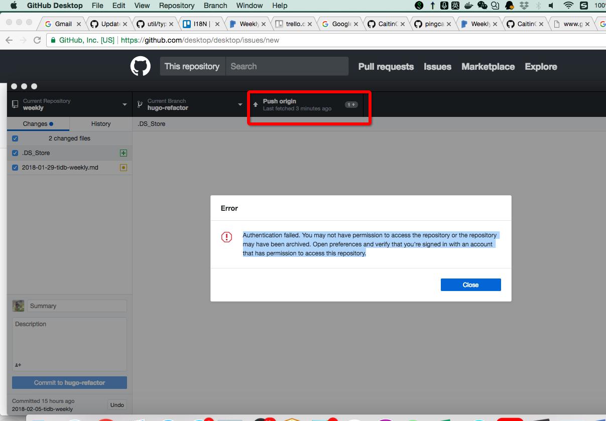 Git Authentication Failed Mac