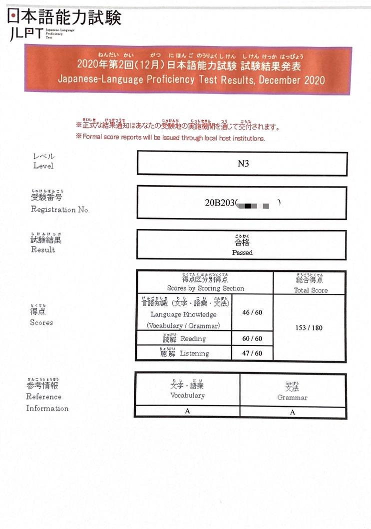 my JLPT N3 test result