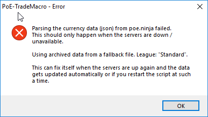 Parsing the currency data from poe ninja failed · Issue #613