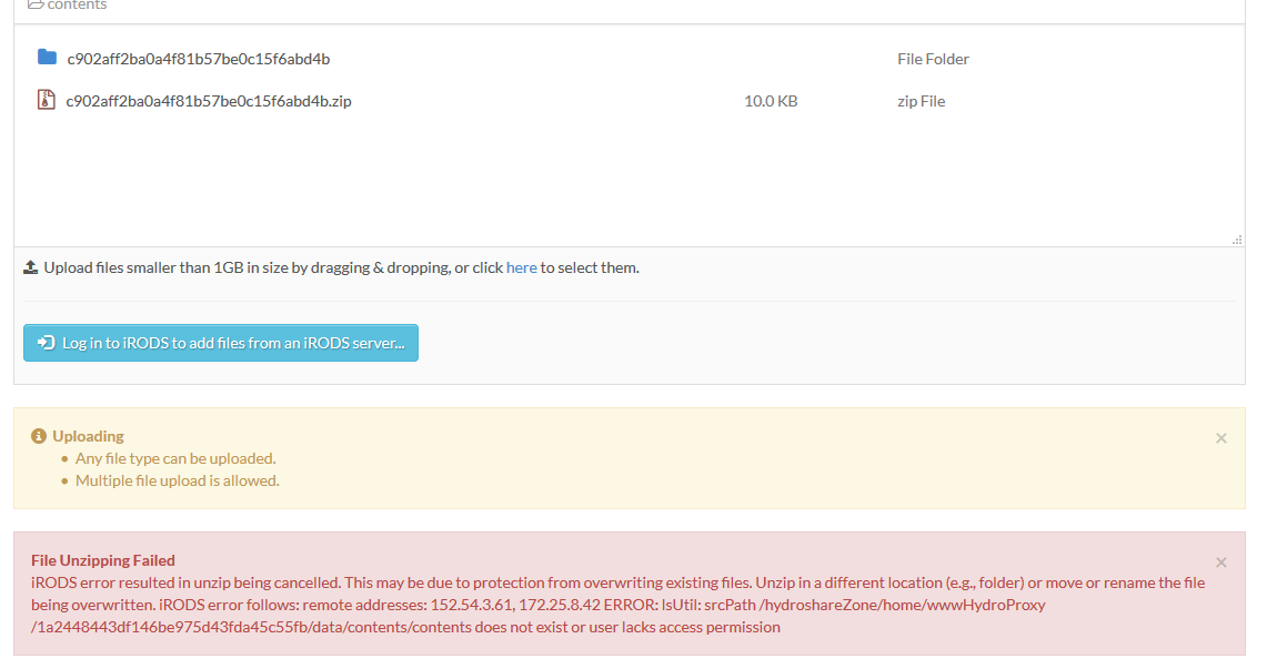 HydroShare reports error unzipping a bag file it created · Issue