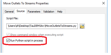 In ArcGIS Toolbox Move Outlets To Streams Tool set run python script