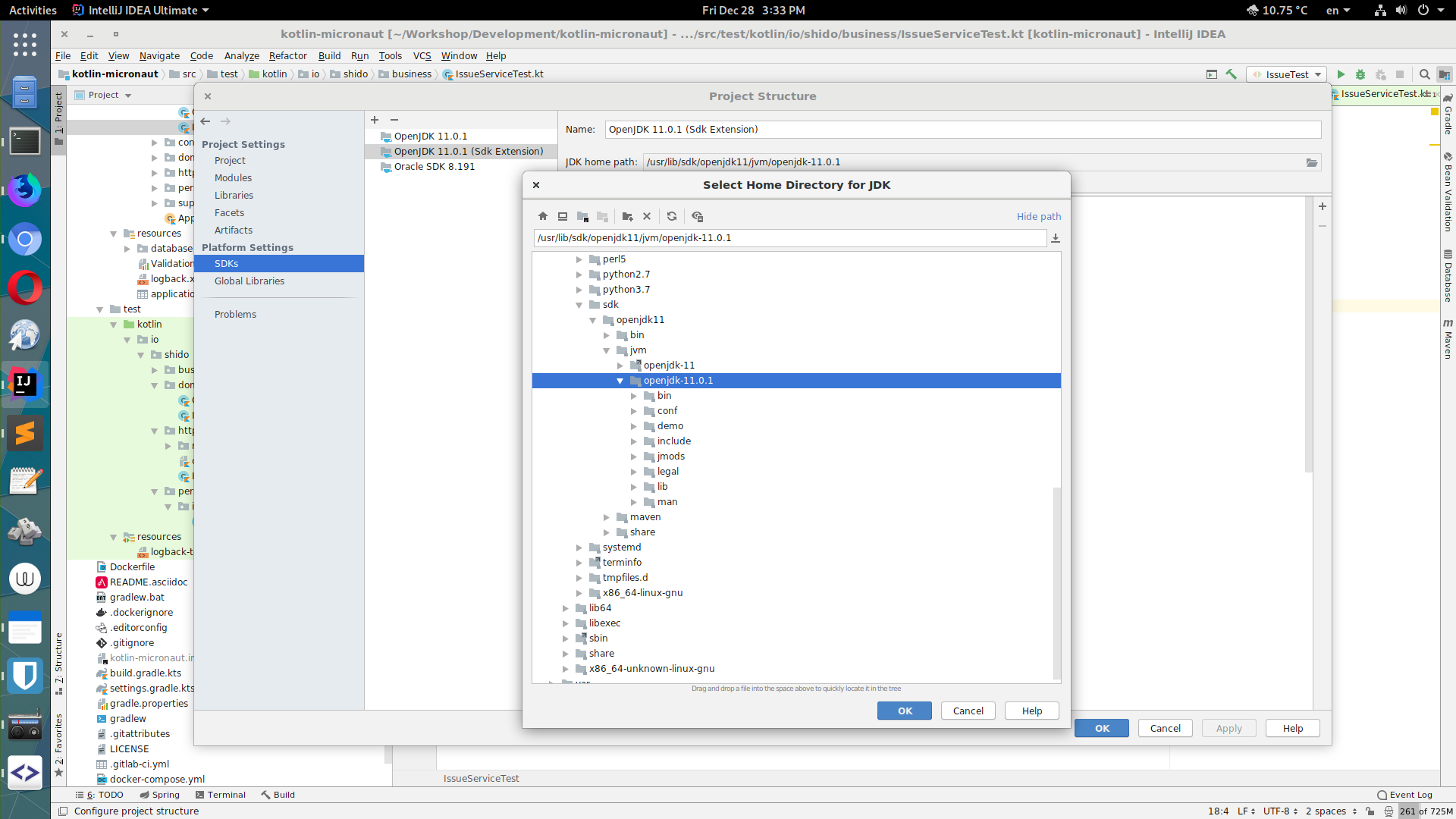 How to configure JDK in Intellij on Fedora Silverblue