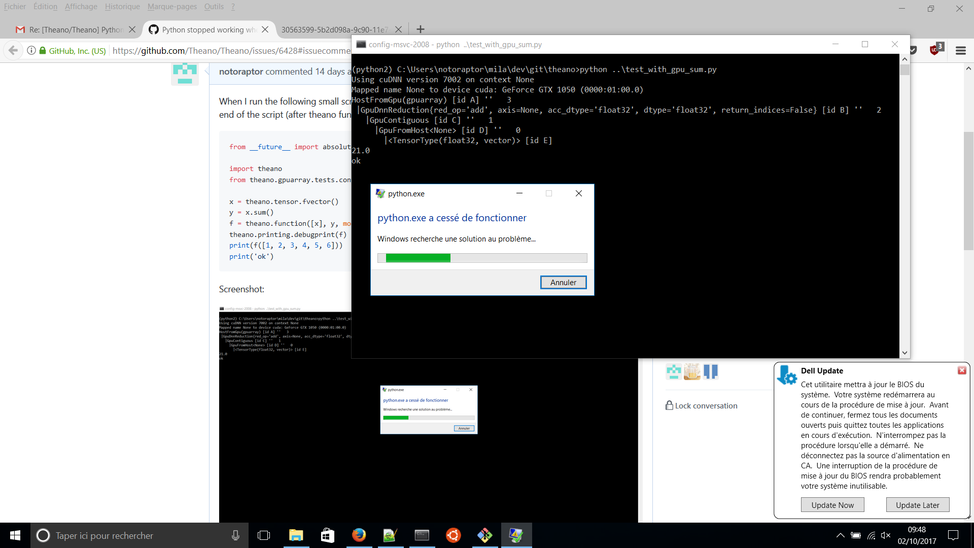 Python stopped working when using GPU on Windows · Issue
