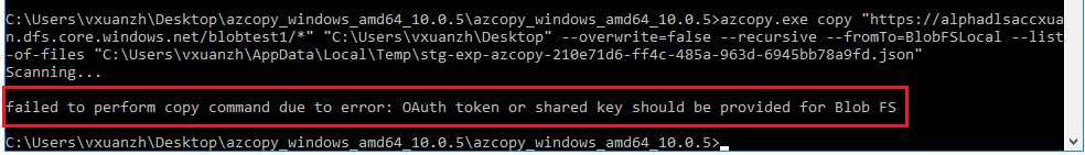 Fail to run the copied AzCopy command of downloading