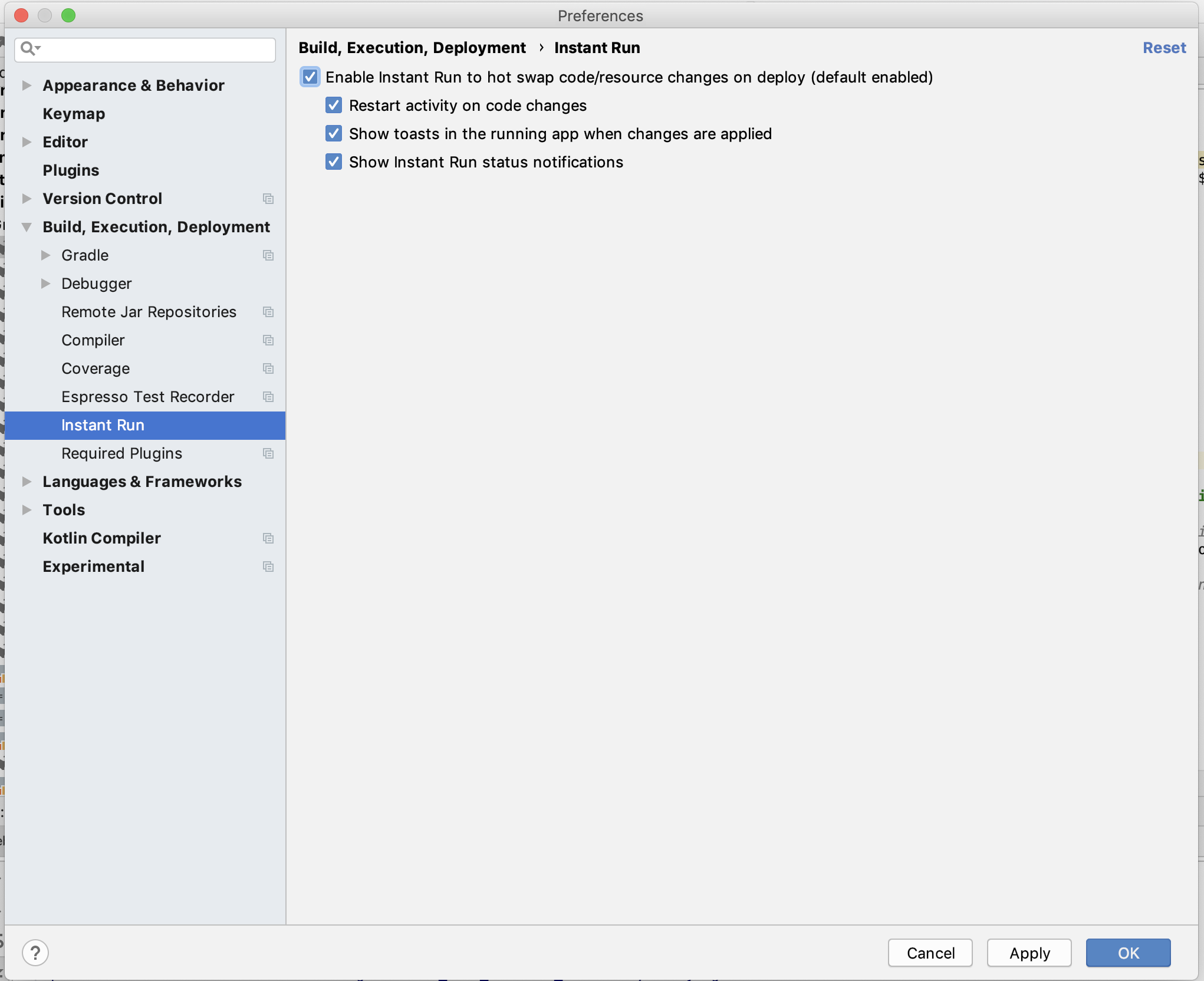 Android Studio deployment fails with instant build (docs update