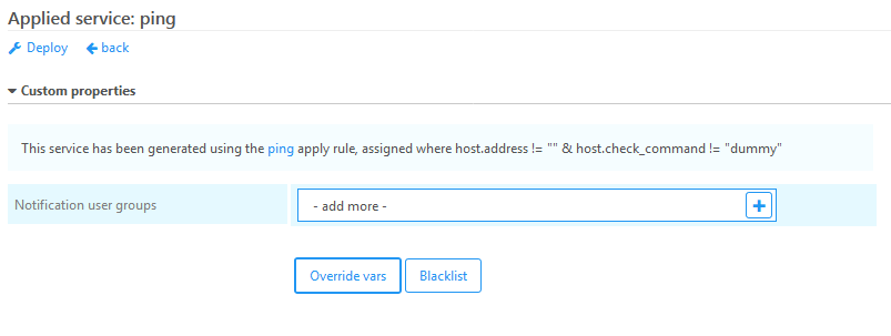 Override of custom vars on applied servies for a single host