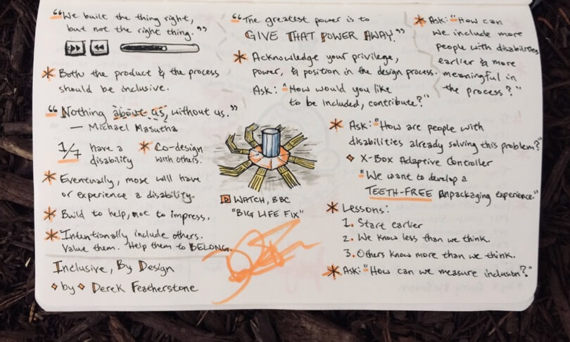 Sketchnote of a talk, with quotes, question prompts, and lessons