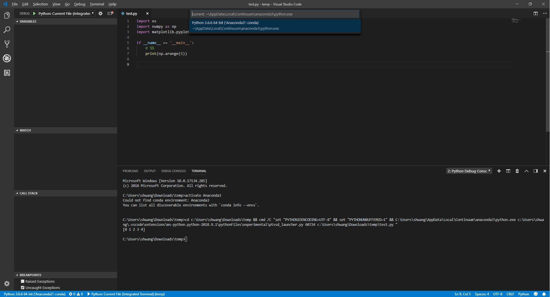 VS Code with Python in Anaconda - weird environment name