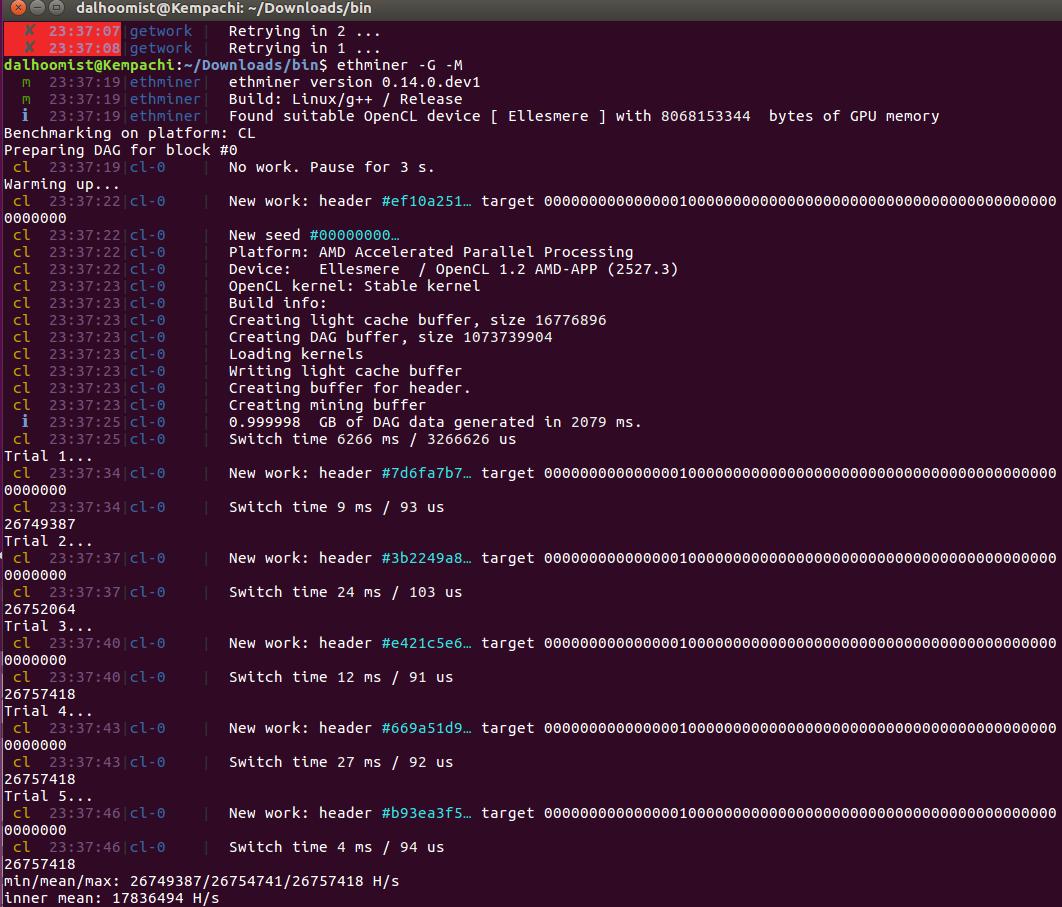 Ethminer successfully installed on Ubuntu 16 04, benchmarks