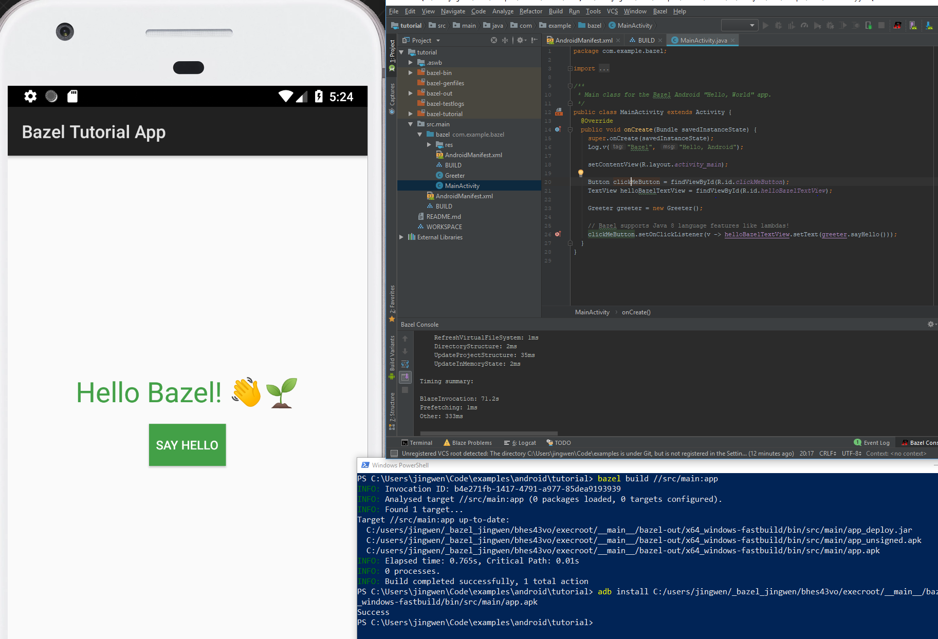 Windows,Android: Bazel should work with Android Studio on