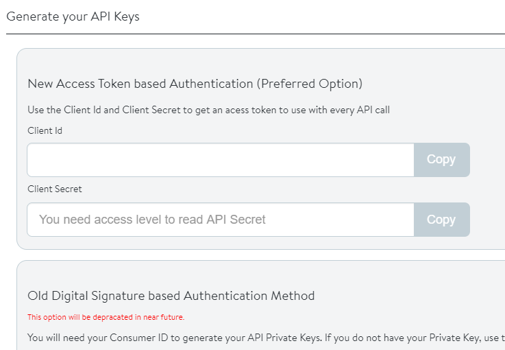 Use of new access token based authentication in this SDK