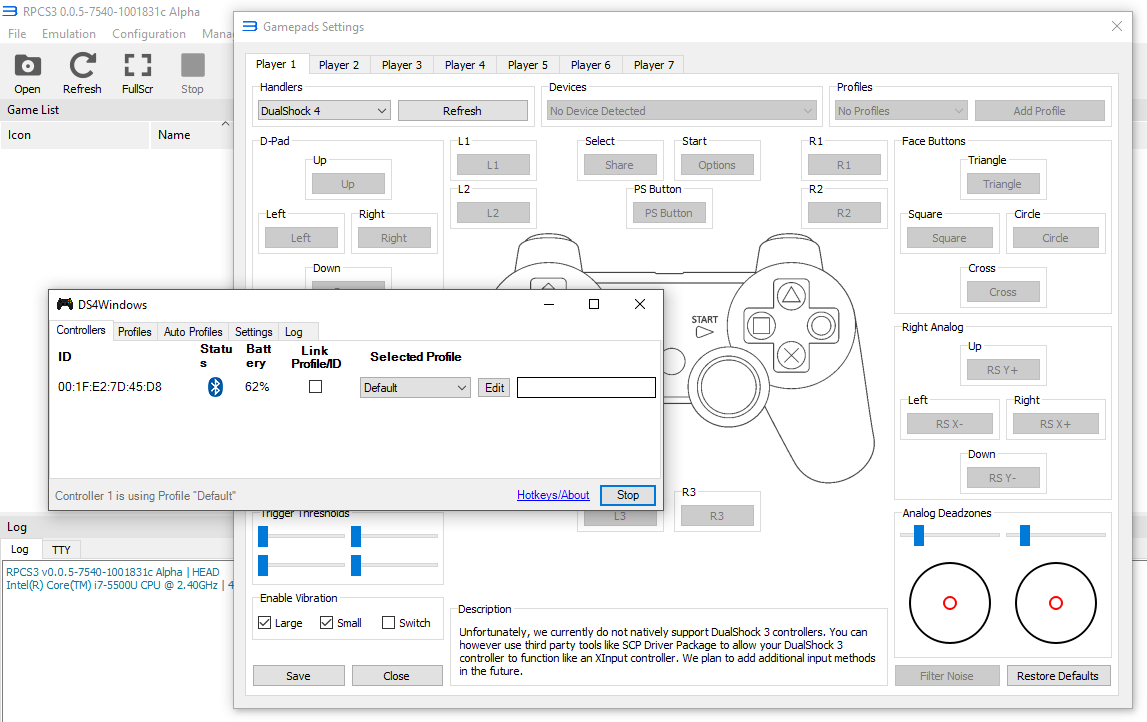 Support for Dualshock 4 under DS4Windows · Issue #5403 · RPCS3/rpcs3