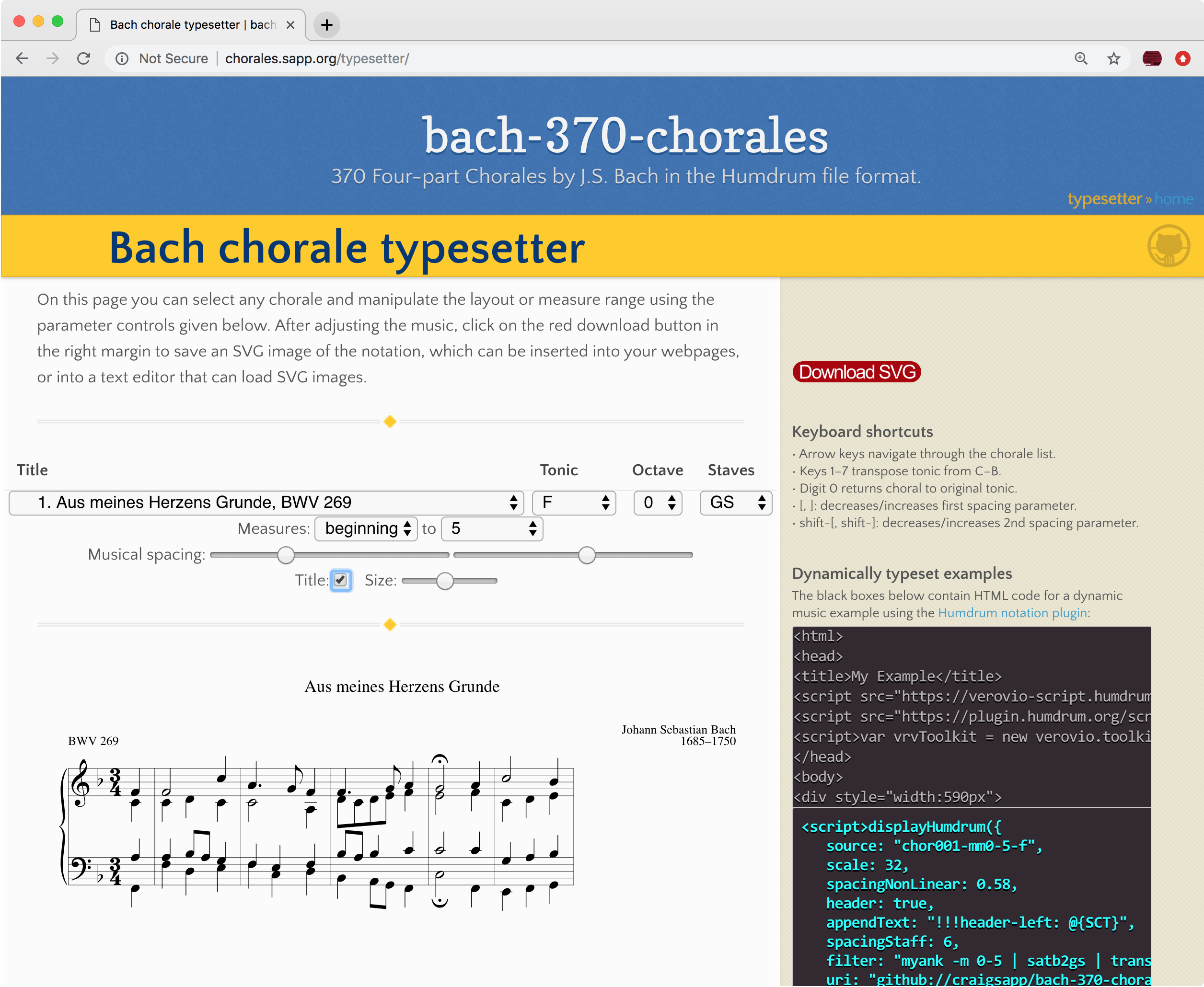 Bach chorale typesetter