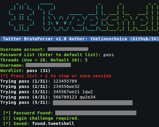 TweetShell - Fuerza bruta a cuentas de twitter 1