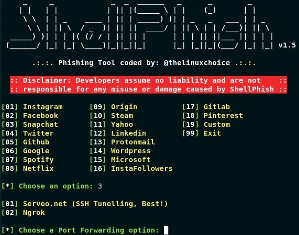 GitHub - thelinuxchoice/shellphish: Phishing Tool for 18