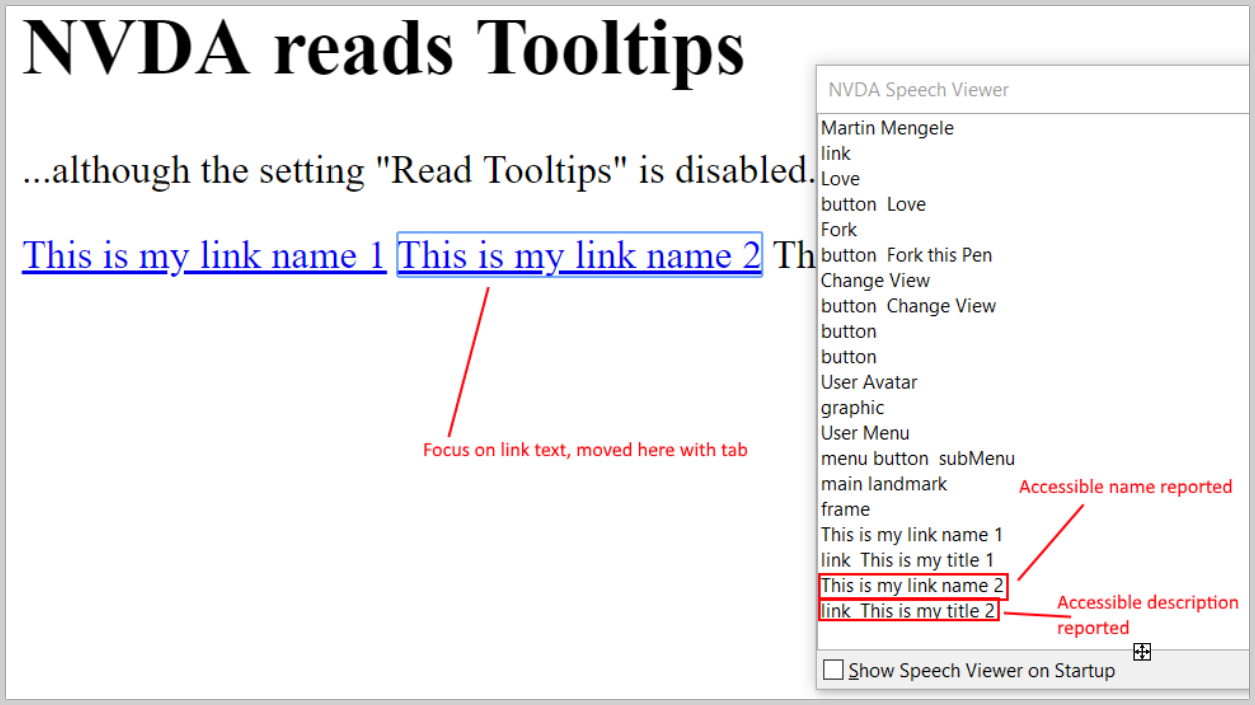 NVDA reads tooltips although this is disabled · Issue #9480