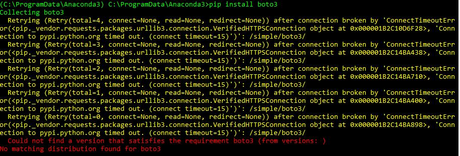 API Installation - Requirements - boto3 >> Windows OS
