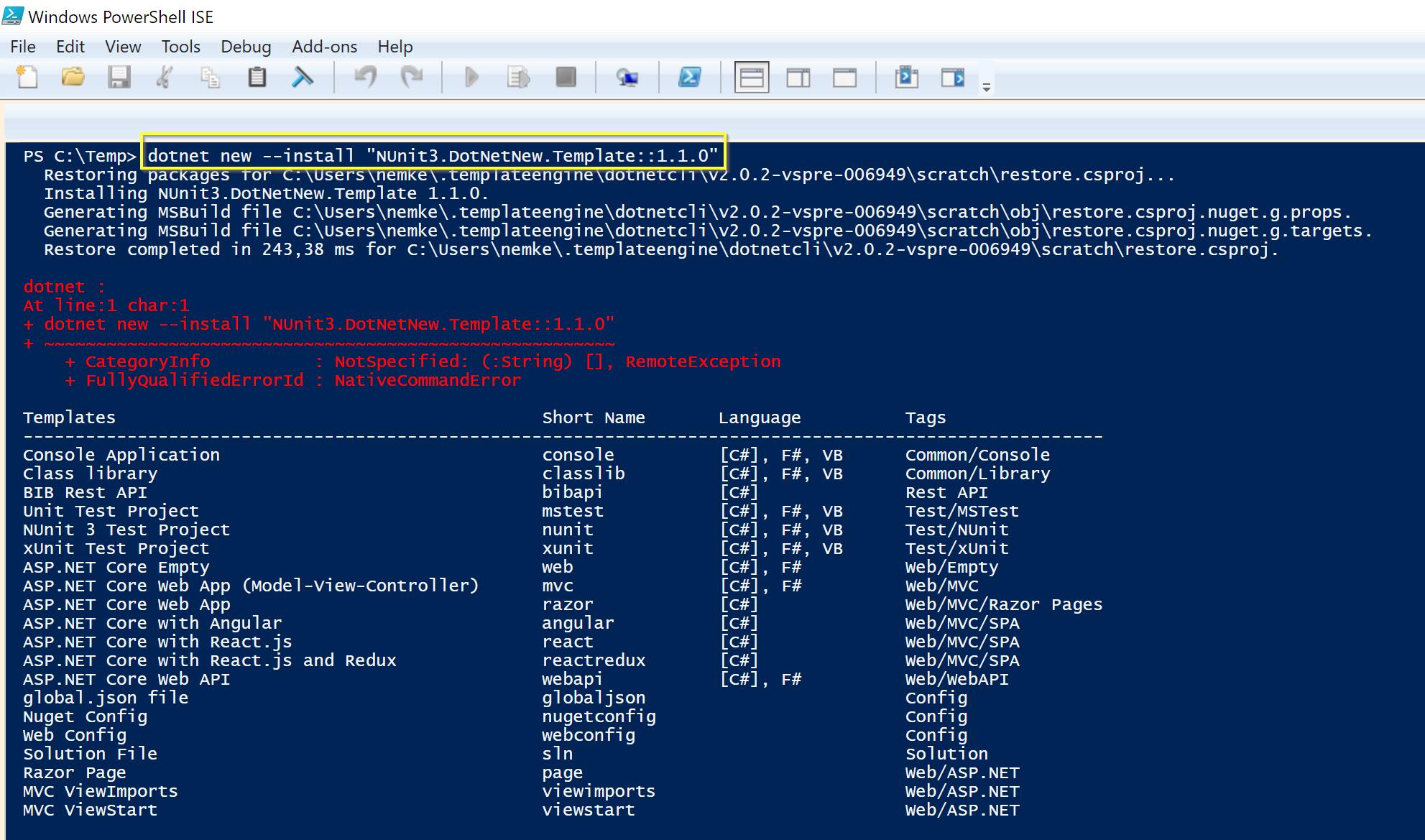 dotnet new --install PowerShell ISE error · Issue #1288