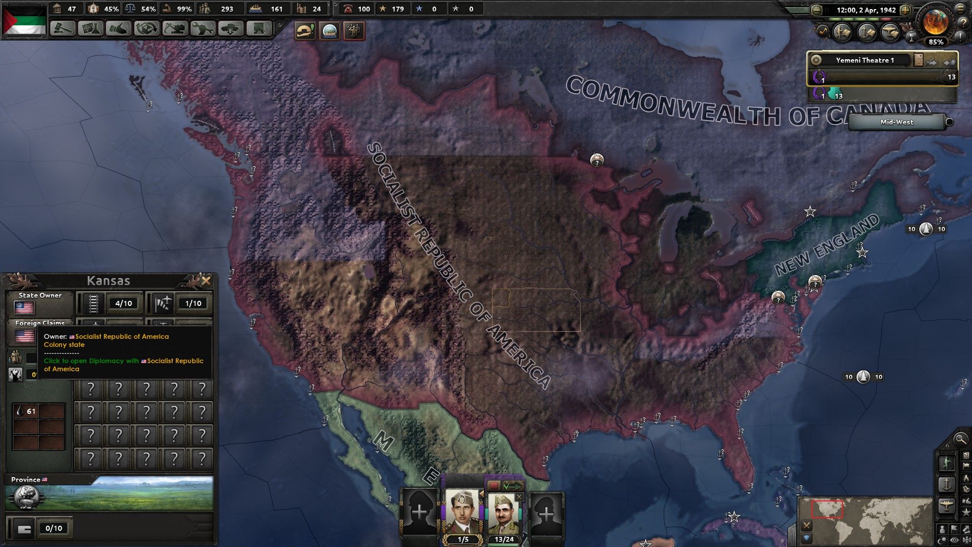 Socialist America (CSA) not receiving cores after Civil War · Issue