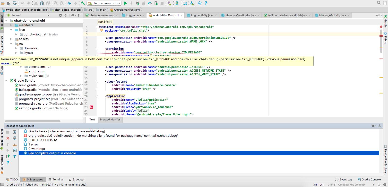 Error:org gradle api GradleException: No matching client