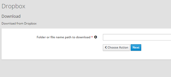 Dropbox download action, how does the file path relate to