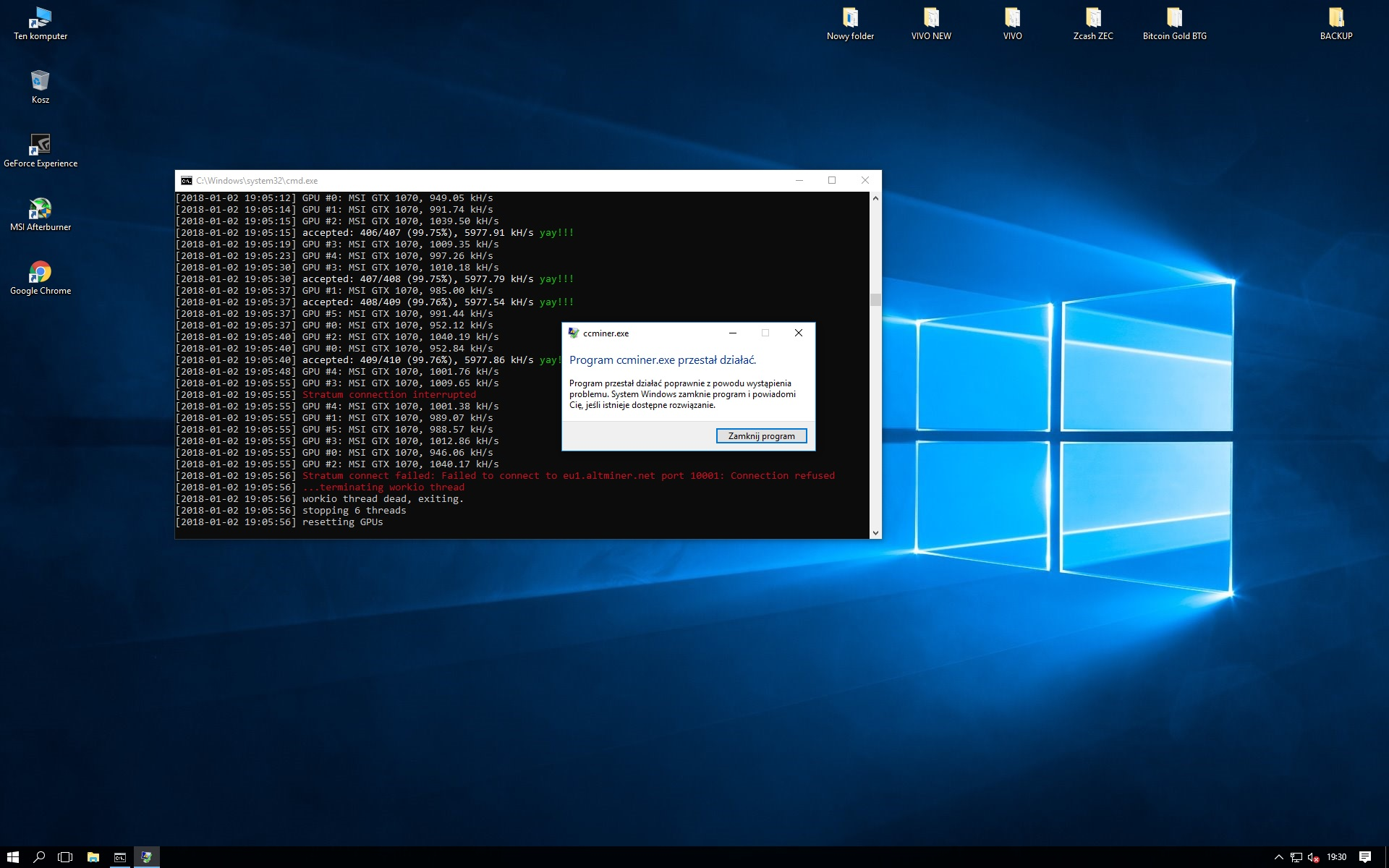 Cpu Miner Crashes At Start Windows 10 Small Bitcoin Mining