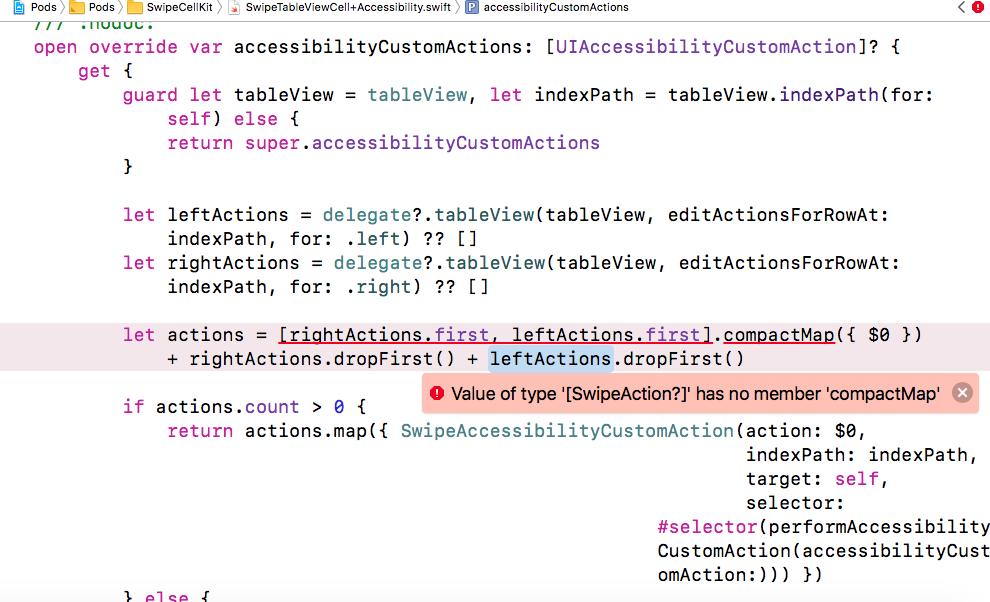 Weird error on the following files : SwipeTableViewCell+