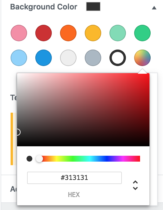Screenshot of colour picker element with incorrect width