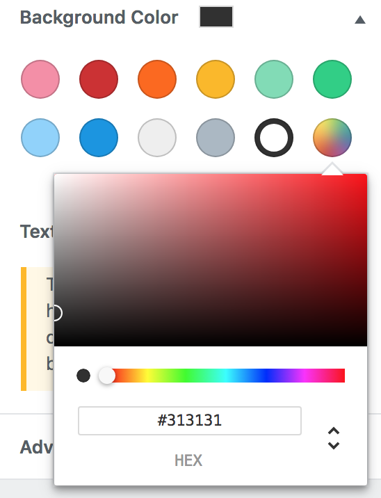 Screenshot of colour picker element with corrected width