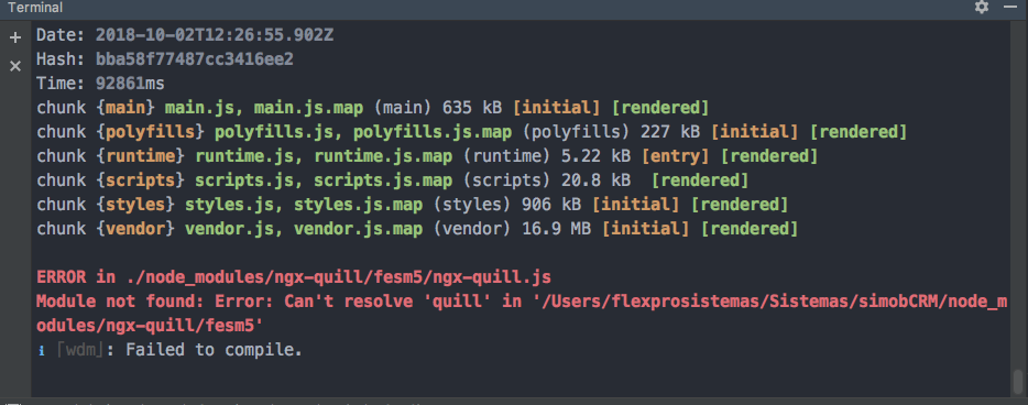 Can't resolve 'quill' in 'xxx/node_modules/ngx-quill/fesm5