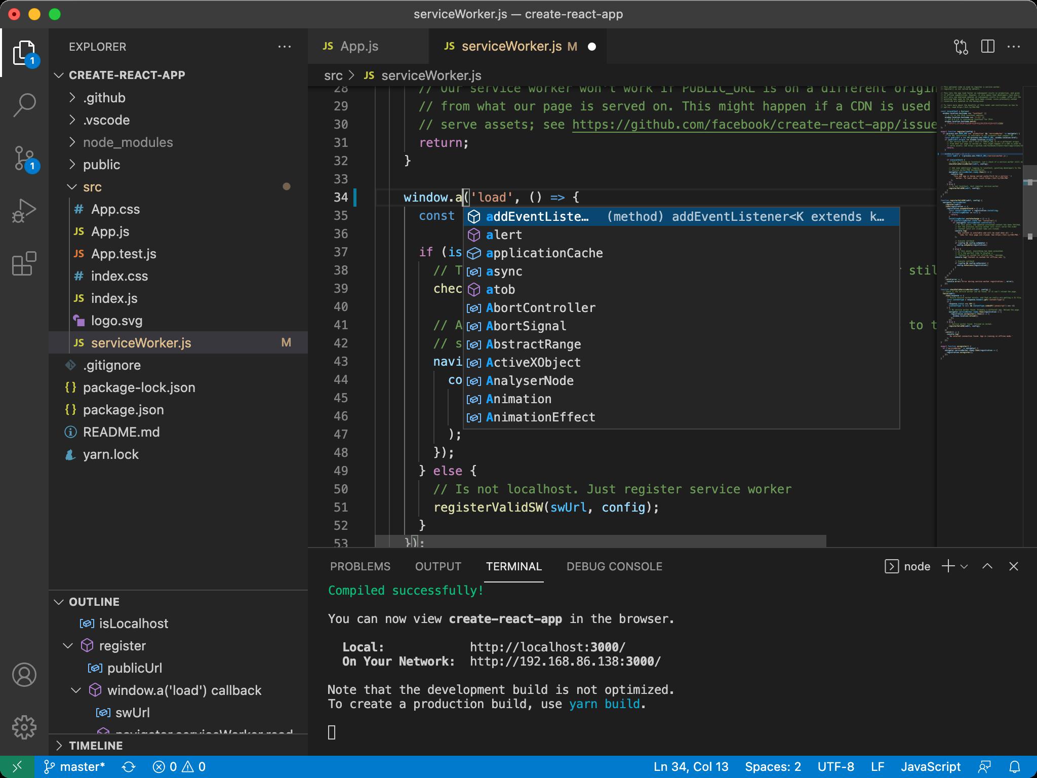VS Code in action