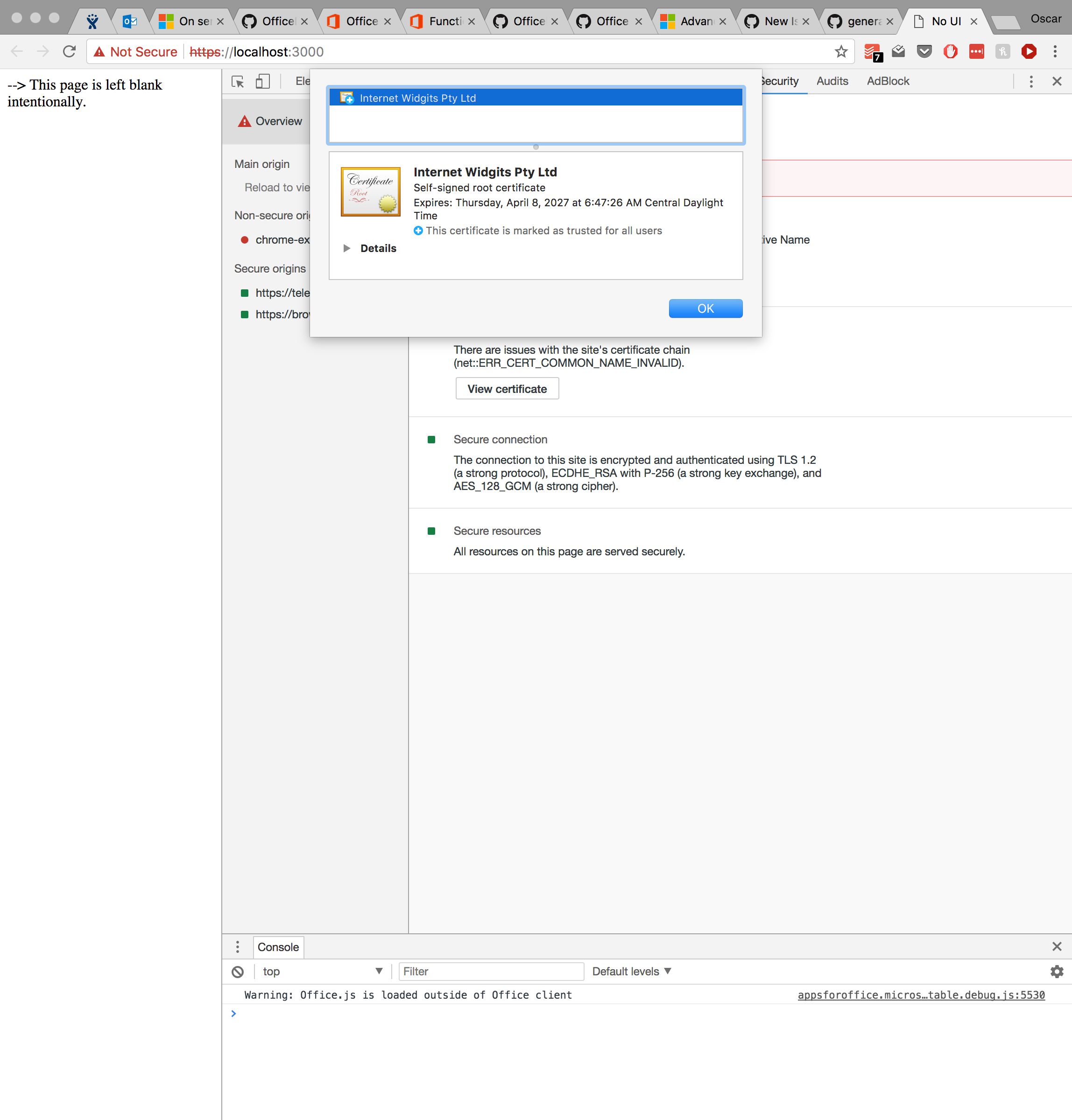 Self Signed Cert On Chrome On Os X Issue 264 Officedev