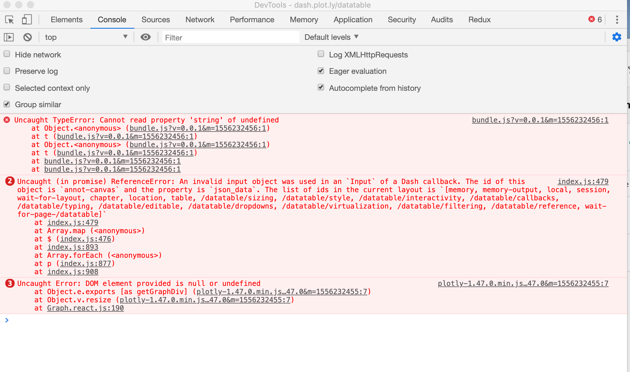Console errors found on datatable page · Issue #481 · plotly