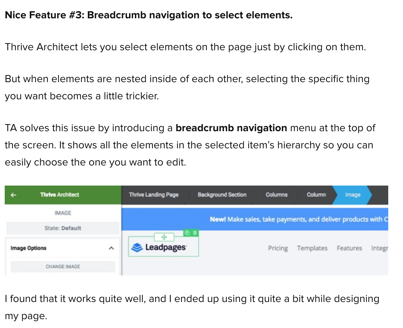 Feature Request - Breadcrumbs navigation of sections/rows